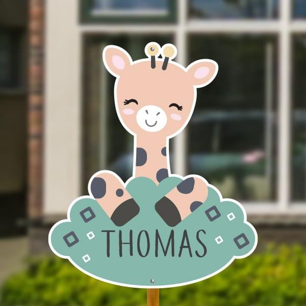 Geboortebord voor in de tuin - Giraffe met vierkantjes - Groen