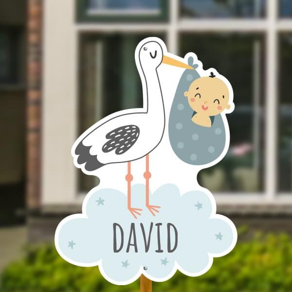 Geboortebord voor in de tuin - Ooievaar met baby jongen - Wit