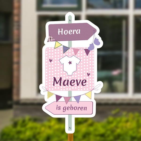 Geboortebord voor in de tuin - Wegwijzer met rompertje - Roze