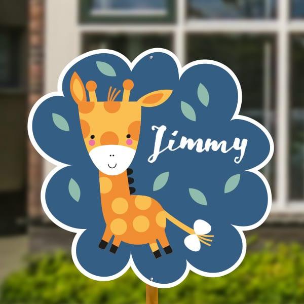Geboortebord baby giraffe donkerblauw