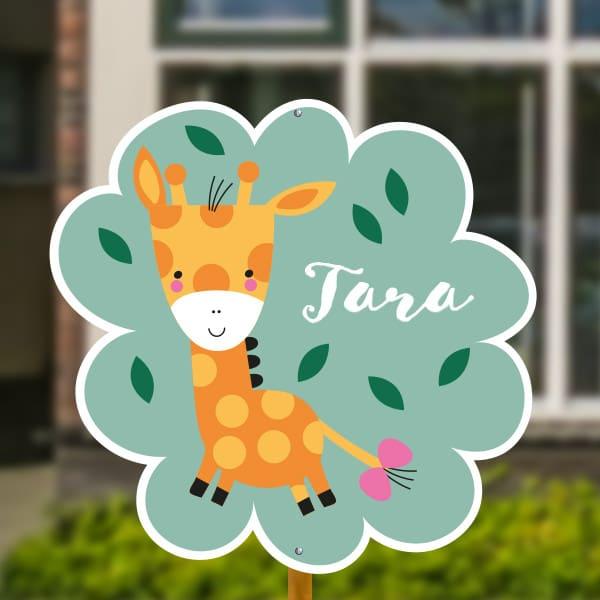 Geboortebord baby giraffe
