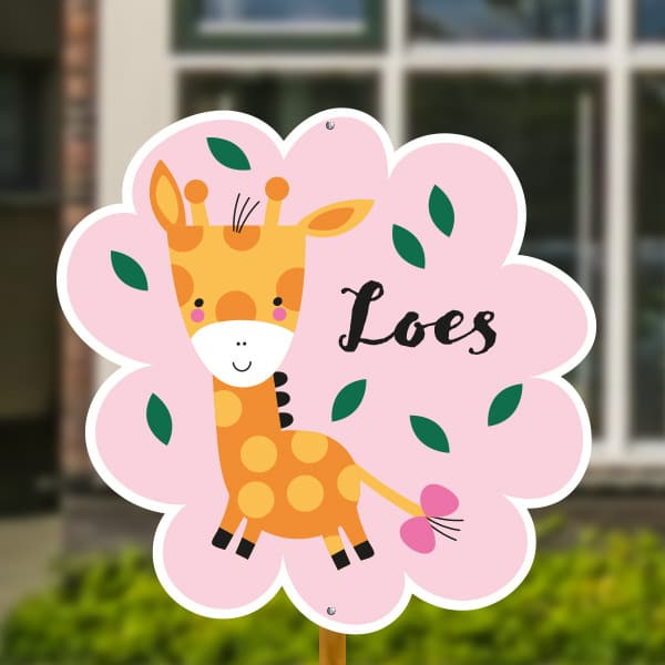 Geboortebord baby giraffe roze