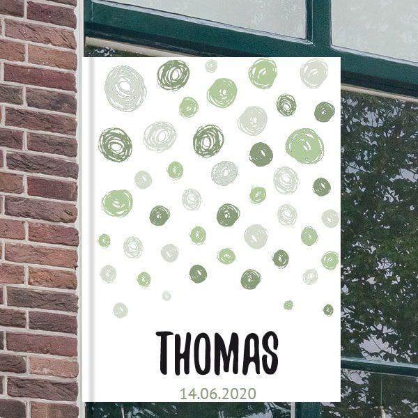 Geboorteborden voor aan het raam - Abstracte cirkels - Groen