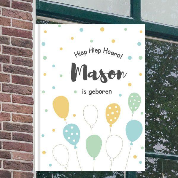 Geboorteborden voor aan het raam - Ballonnen feest - Geel