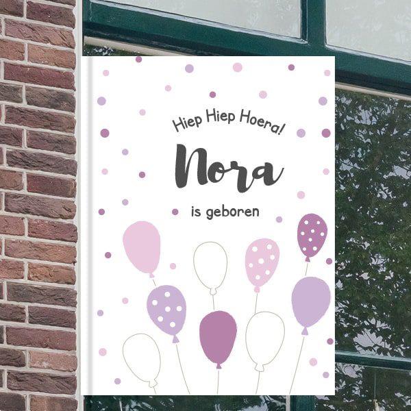 Geboorteborden voor aan het raam - Ballonnen feest - Paars