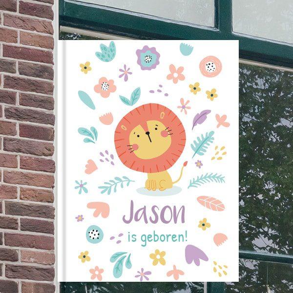 Geboorteborden voor aan het raam - Leeuwtje met bloemen - Cyaan