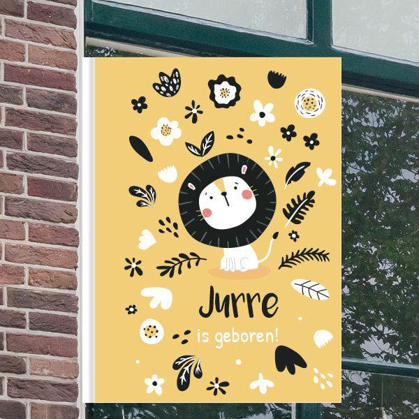 Geboorteborden voor aan het raam - Leeuwtje met bloemen - Geel
