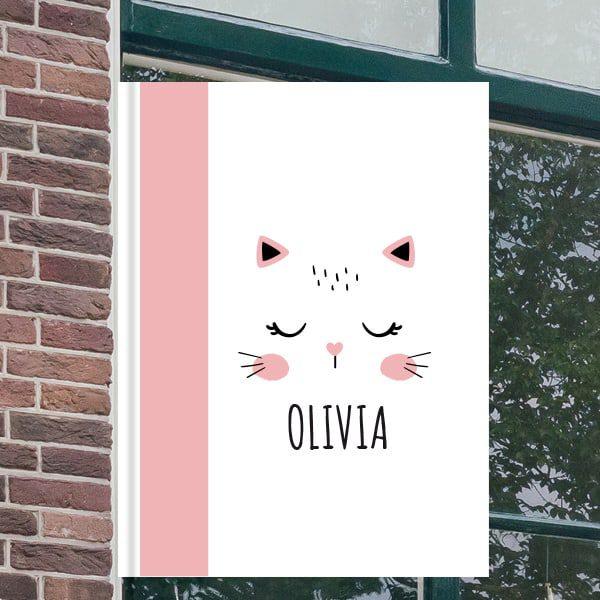 Geboorteborden voor aan het raam - Poes met ogen dicht - Roze