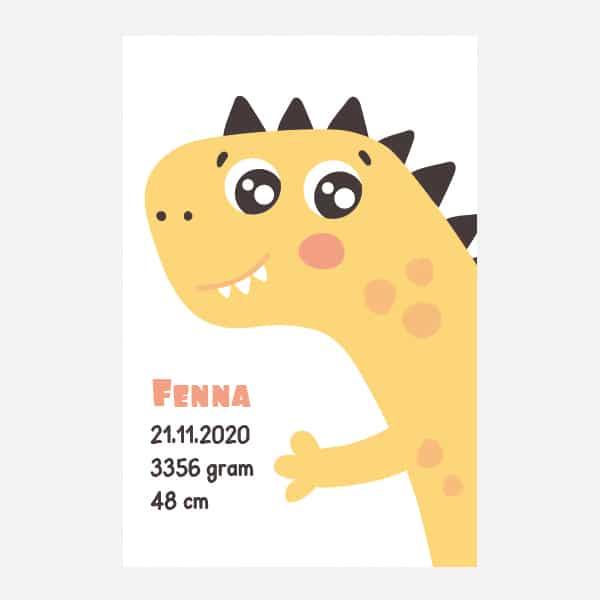 Geboorteposter canvas - Dino - Oranje