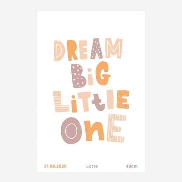 Geboorteposter canvas - Dream big - Oudroze
