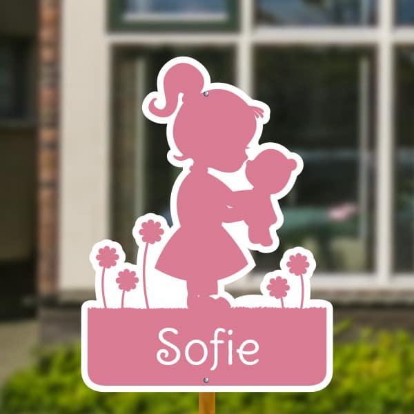 Geboortebord voor in de tuin - Meisje met knuffel - Roze