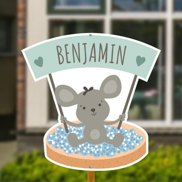 Geboortebord voor in de tuin - Beschuit met blauwe muisjes - Mintgroen
