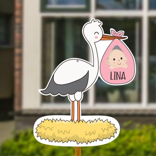 Geboortebord voor in de tuin - Ooievaar op nest met baby - Roze