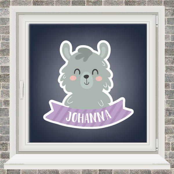 Geboortesticker - Alpaca met vaandel - Paars