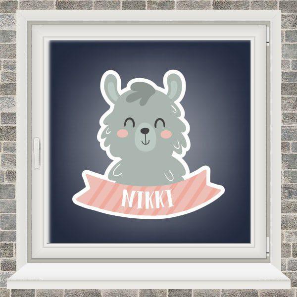 Geboortesticker - Alpaca met vaandel - Roze