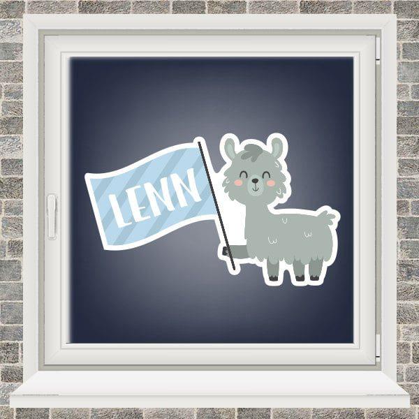 Geboortesticker - Alpaca met vlaggetje - Lichtblauw