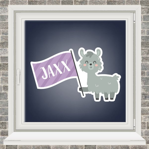 Geboortesticker - Alpaca met vlaggetje - Paars