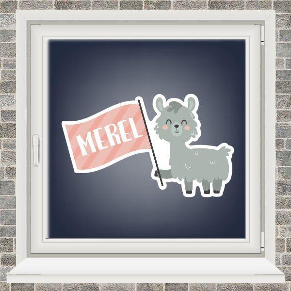 Geboortesticker - Alpaca met vlaggetje - Roze
