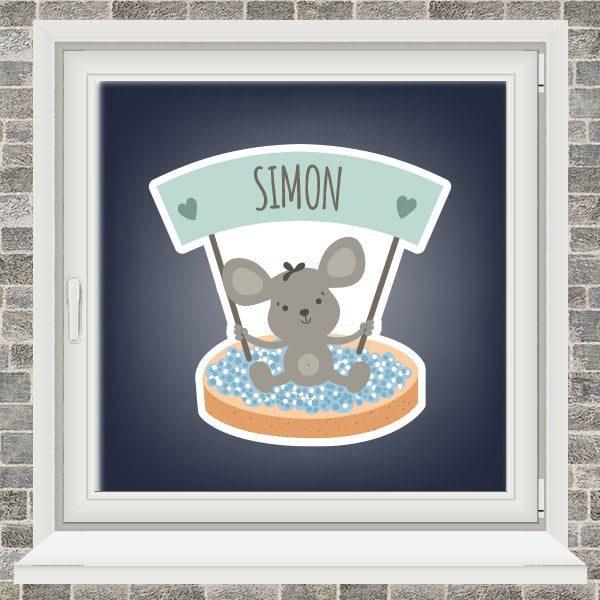 Geboortesticker - Beschuit met blauwe muisjes - Mintgroen