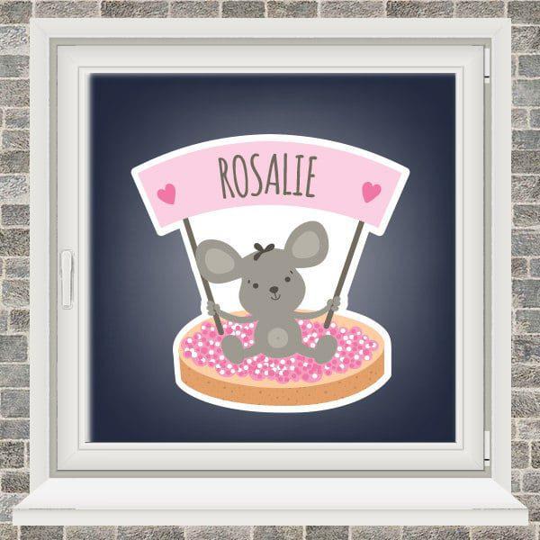 Geboortesticker - Beschuit met roze muisjes - Roze