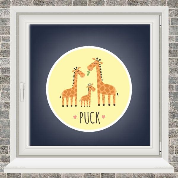 Geboortesticker - Familie giraffe - Geel