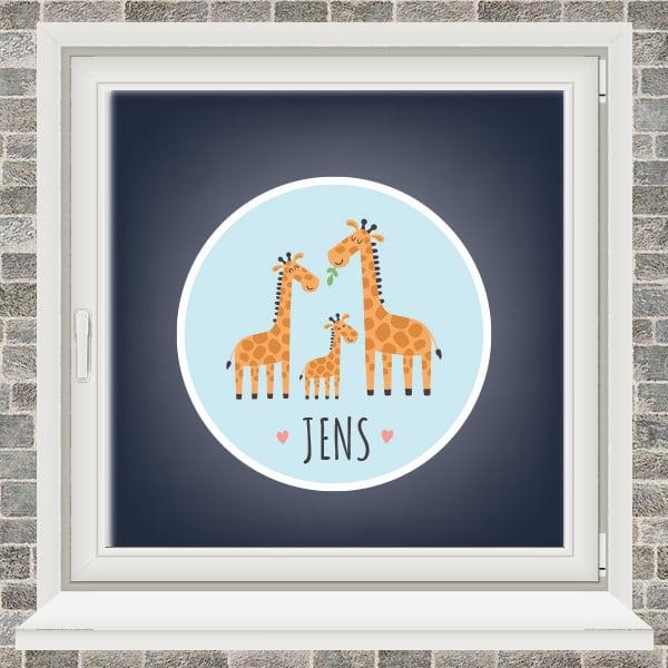 Geboortesticker - Familie giraffe - Lichtblauw