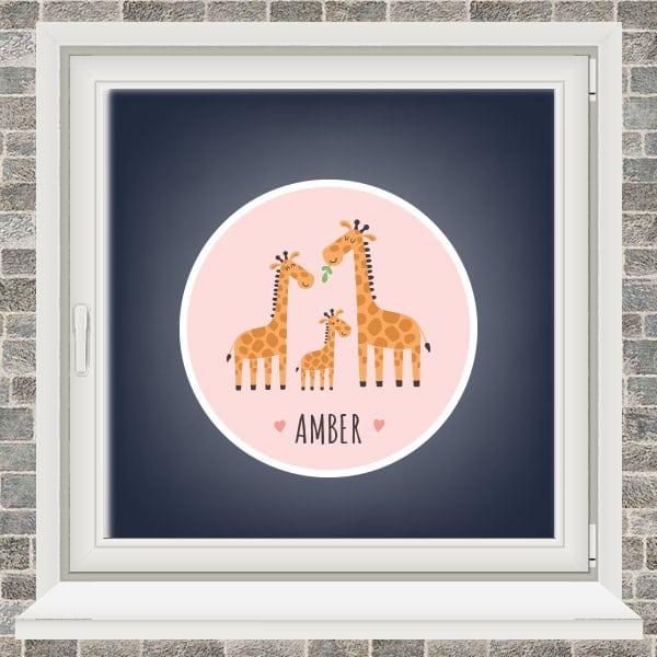 Geboortesticker - Familie giraffe - Roze