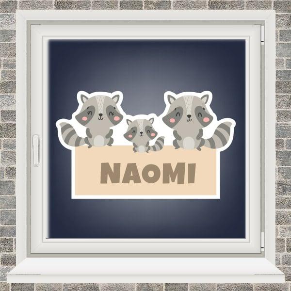 Geboortesticker - Familie wasbeer - Geel