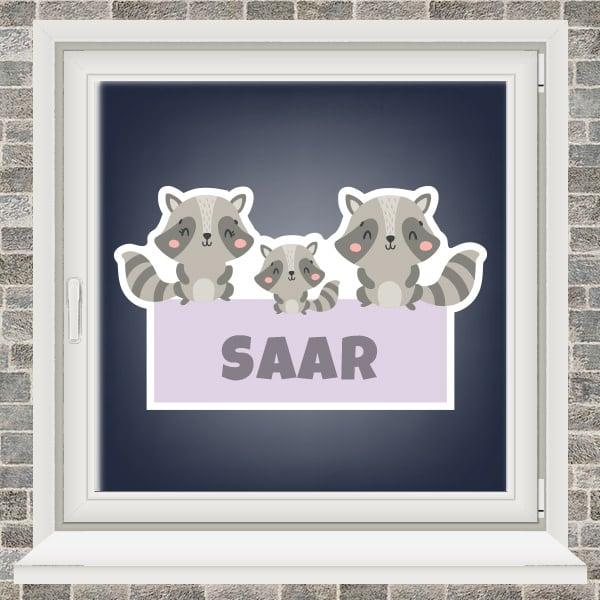 Geboortesticker - Familie wasbeer - Paars