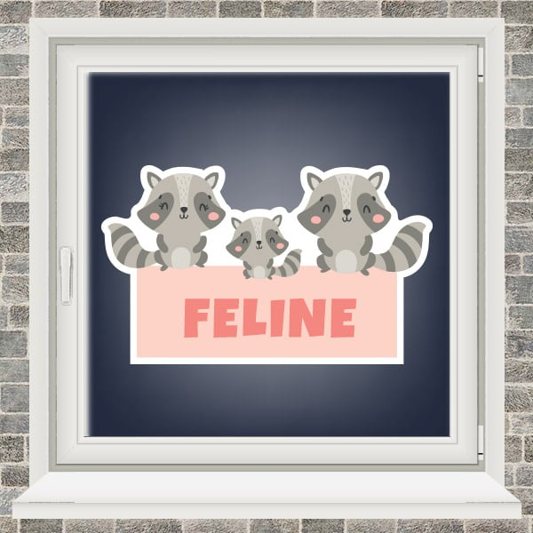 Geboortesticker - Familie wasbeer - Roze