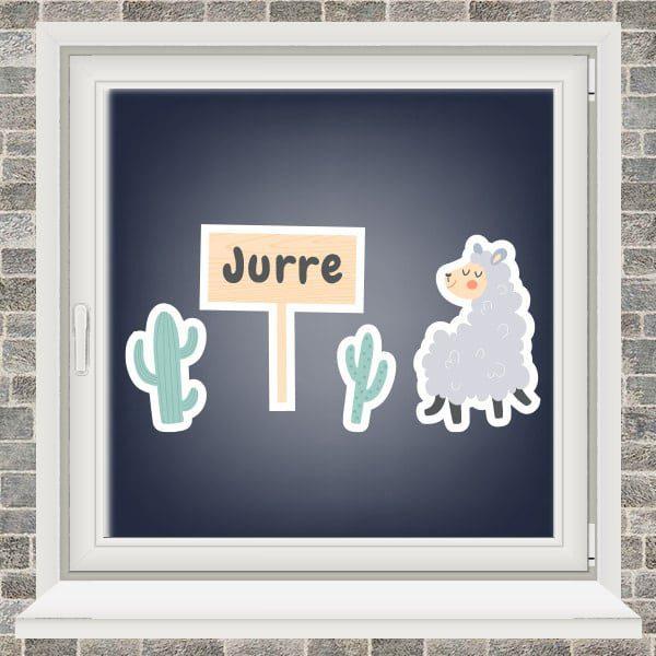 Geboortesticker - Lama met 2 cactussen - Geel