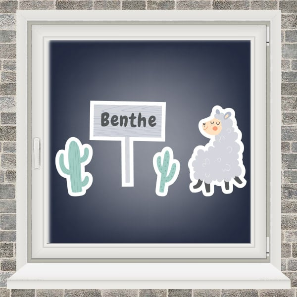 Geboortesticker - Lama met 2 cactussen - Grijs