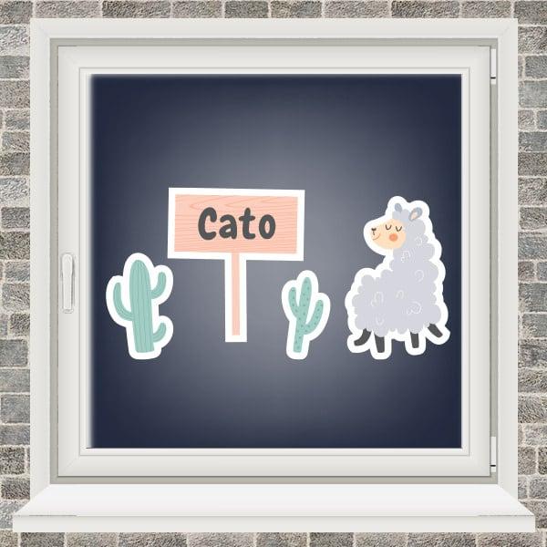 Geboortesticker - Lama met 2 cactussen - Roze
