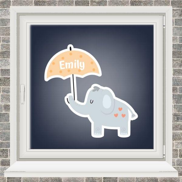 Geboortesticker - Olifantje met paraplu - Geel