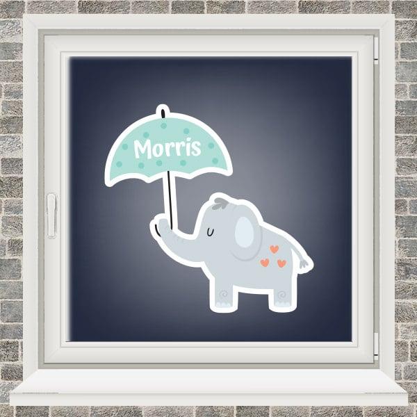 Geboortesticker - Olifantje met paraplu - Mintgroen