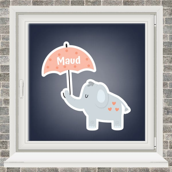 Geboortesticker - Olifantje met paraplu - Roze
