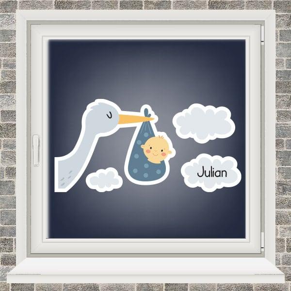 Geboortesticker - Ooievaar in de wolken - jongen - Donkerblauw