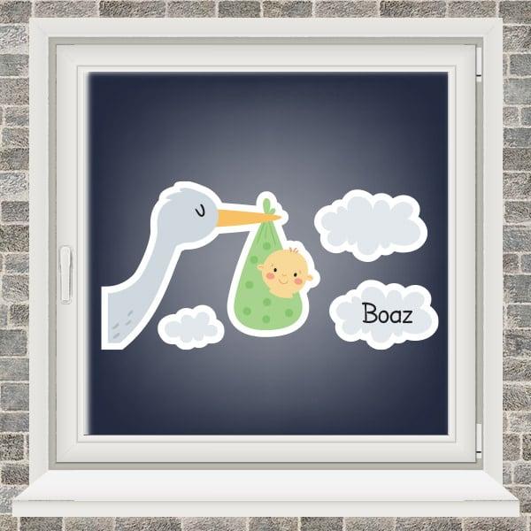 Geboortesticker - Ooievaar in de wolken - jongen - Groen