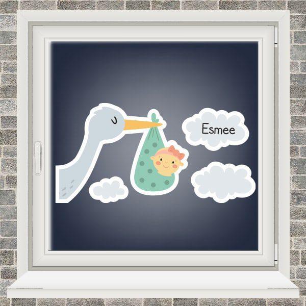 Geboortesticker - Ooievaar in de wolken - meisje - Mintgroen