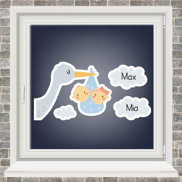 Geboortesticker - Ooievaar in de wolken - tweeling jongen meisje - Lichtblauw