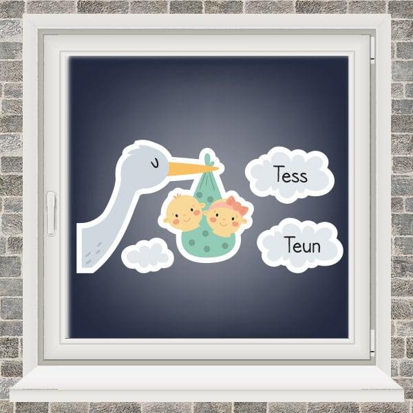Geboortesticker - Ooievaar in de wolken - tweeling jongen meisje - Mintgroen