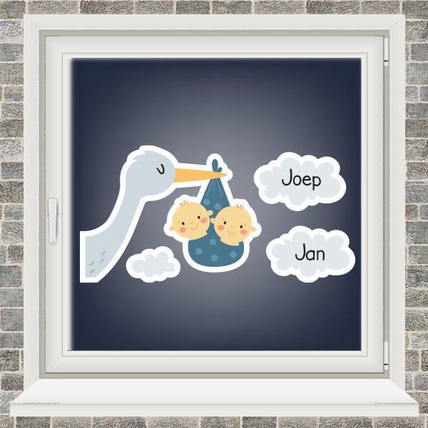 Geboortesticker - Ooievaar in de wolken - tweeling jongens - Donkerblauw