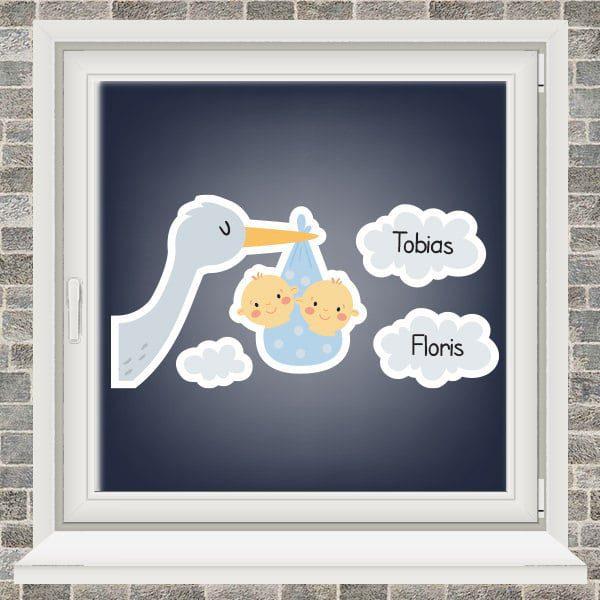 Geboortesticker - Ooievaar in de wolken - tweeling jongens - Lichtblauw