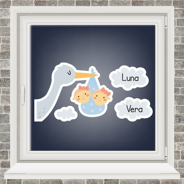 Geboortesticker - Ooievaar in de wolken - tweeling meisjes - Lichtblauw