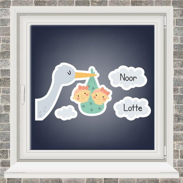 Geboortesticker - Ooievaar in de wolken - tweeling meisjes - Mintgroen