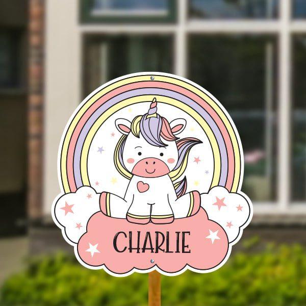 Geboortebord voor in de tuin - Kleurrijke unicorn - Roze