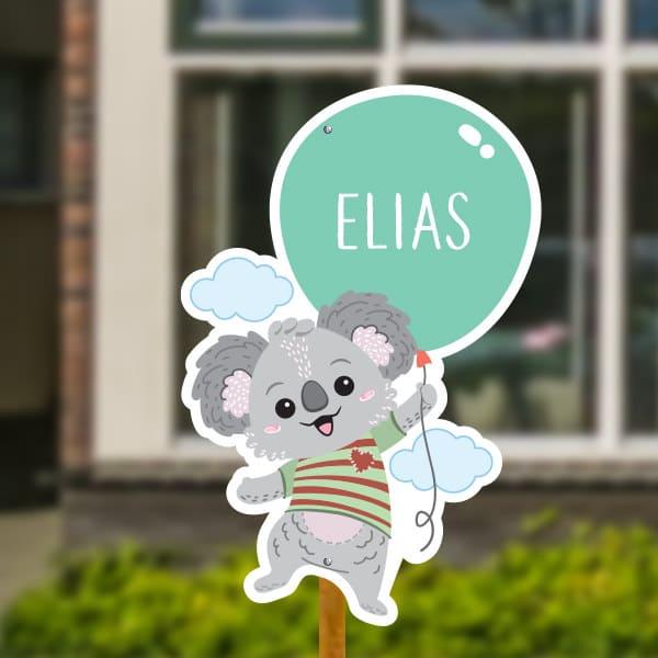 Geboortebord voor in de tuin - Koala met ballon - Mintgroen
