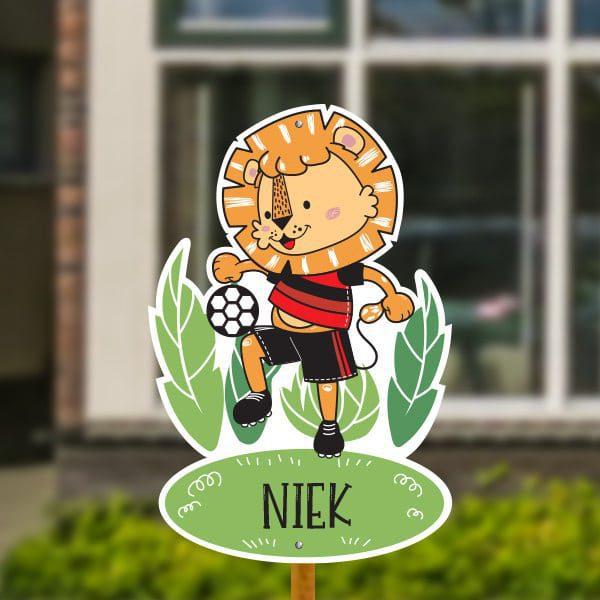 Geboortebord voor in de tuin - Leeuwtje met voetbal - Rood