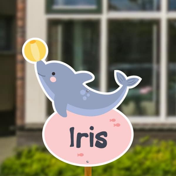 Geboortebord voor in de tuin - Dolfijntje met bal - Roze