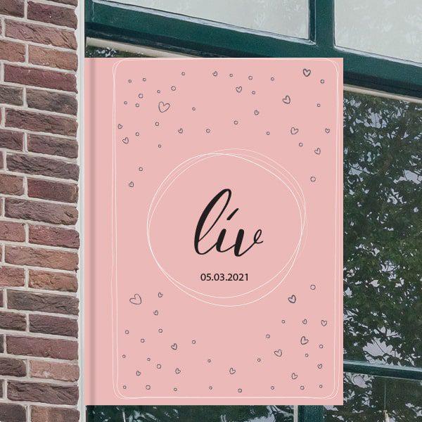 Geboortebord voor aan het raam - Stippenfestijn - Roze